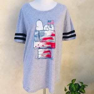 Peanuts Plus Size Snoopy Ringer T-shirt NWT Gray